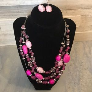 Jewelry - Pink Necklace and Matching Earrings Set